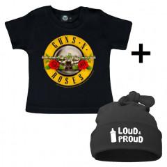 Juego de regalo con camiseta de Guns n' Roses y Loud & Proud Gorrita