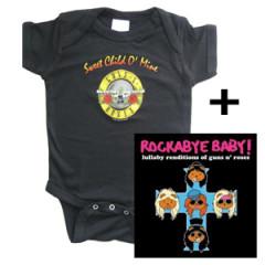 Juego de regalo con body de Guns 'n Roses y CD Rock Baby Lullaby de Guns 'n Roses