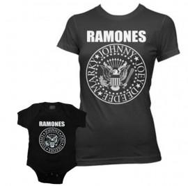 Duo Rockset con camiseta para mamá de Ramones y body para bebé de Ramones
