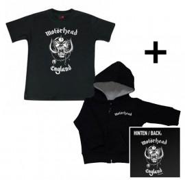 Juego de regalo con chaqueta para bebé de Motörhead con cremallera y capucha y camiseta para bebé de Motörhead