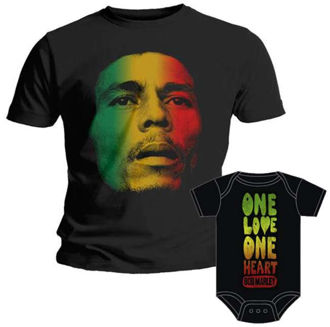Duo Rockset con camiseta para papá de Bob Marley y body para bebé de Bob Marley