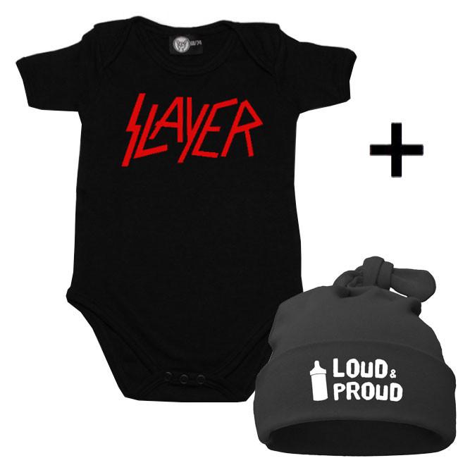 Juego de regalo con body de Slayer y Loud & Proud Gorrita