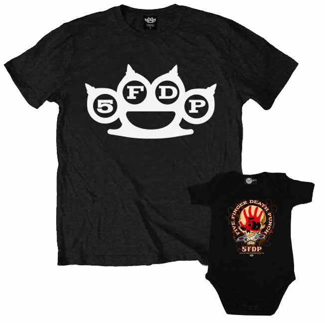 Duo Rockset con camiseta para papá de Five Finger Death Punch y body para bebé de Five Finger Death Punch
