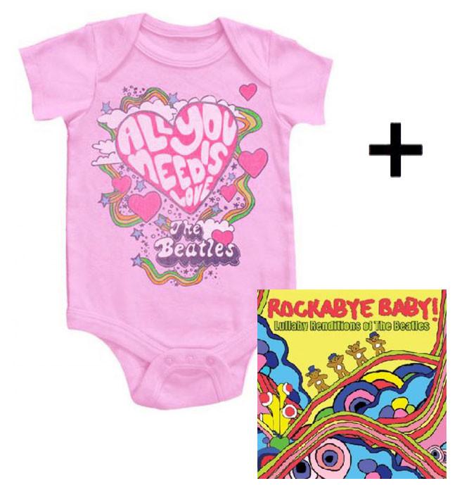 Juego de regalo con body de Beatles All You Need is Love y CD Rock Baby Lullaby de Beatles