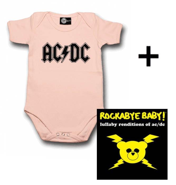 Juego de regalo con body de AC/DC Logo Pink y CD Rock Baby Lullaby de AC/DC