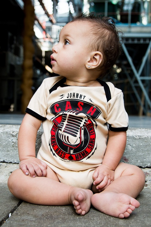 Johnny Cash baby romper Daddy Sang Bass photoshoot