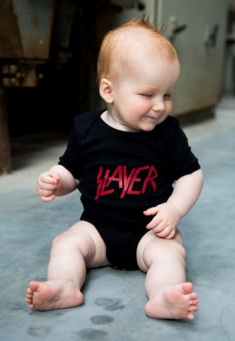 Slayer Baby Romper Logo photoshoot