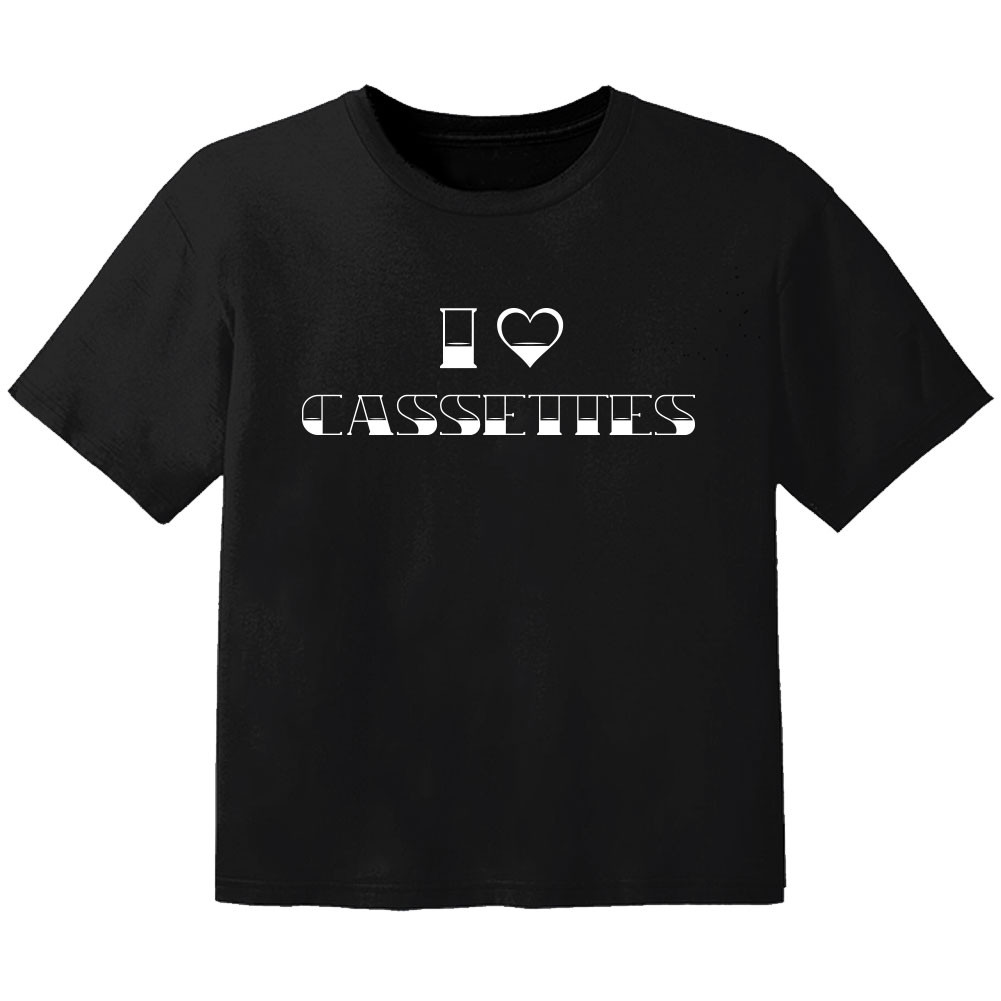 Camiseta Rock para niños I love cassetes