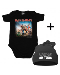 Juego de regalo con body de Iron Maiden y Metal Kid on Tour Gorrita