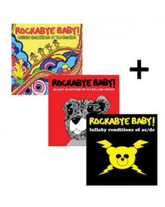 Juego de regalo con los CD de Rockabye Baby de AC/DC, Beatles y Rolling Stones